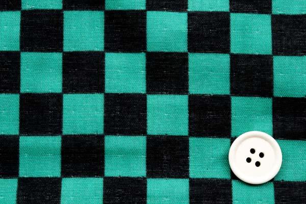人気の和柄シリーズ 日本の伝統 市松格子のダブルガーゼ 15mm 緑×黒