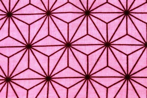 人気の和柄シリーズ第11弾 日本の伝統 麻の葉柄のダブルガーゼ 70mm ピンク