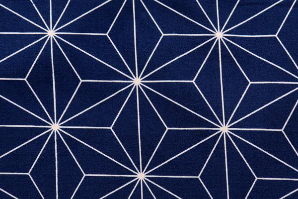 日本の伝統柄 シーチングプリント 麻の葉 濃紺