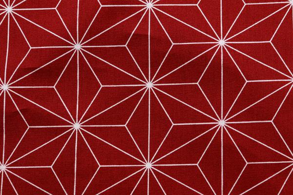 日本の伝統柄 シーチングプリント 麻の葉 赤(エンジ)