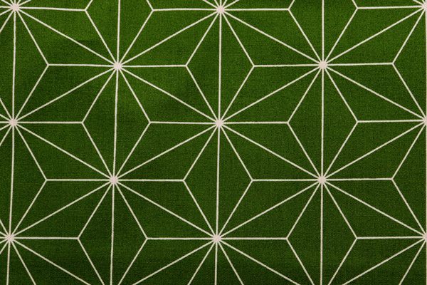 日本の伝統柄 シーチングプリント 麻の葉 苔色