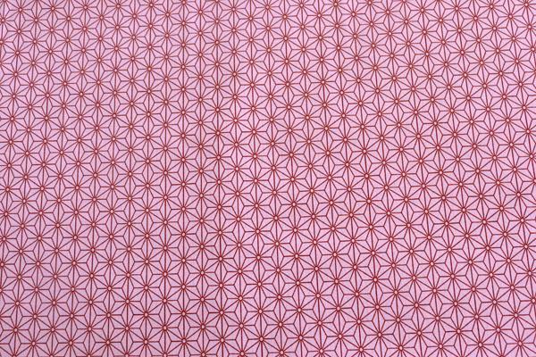 日本の伝統柄 シーチングプリント 麻の葉 ピンク×茶