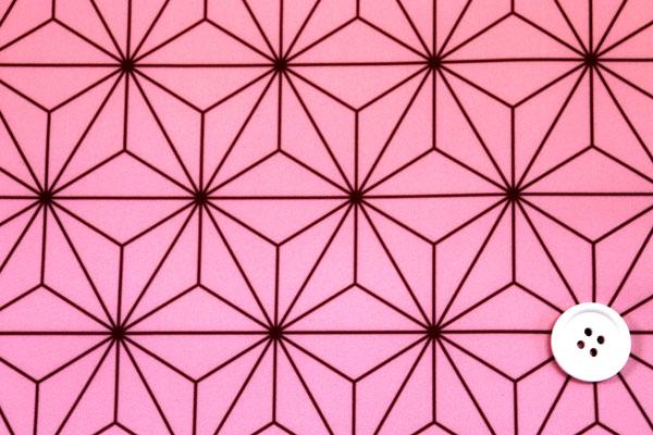 江戸ッ子オリジナル! 日本の伝統 ハイテンションニット 麻の葉柄 ピンク×茶