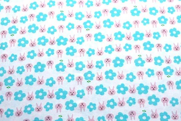 40スムースニット うさぴょんとお花 ピンク×ブルー