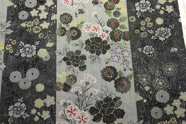 日本の伝統 抜染加工 サザンクロス ろうけつ染花紋 ねずみ色