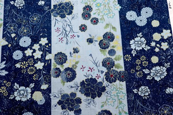 日本の伝統 抜染加工 サザンクロス ろうけつ染花紋 紺色