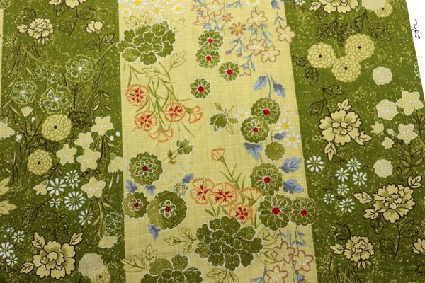 日本の伝統 抜染加工 サザンクロス ろうけつ染花紋 うぐいす色