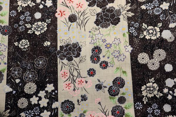 日本の伝統 抜染加工 サザンクロス ろうけつ染花紋 こげ茶色