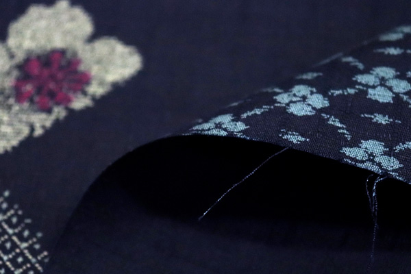 日本の伝統 抜染加工 サザンクロス 小紋つなぎ文様 紺地