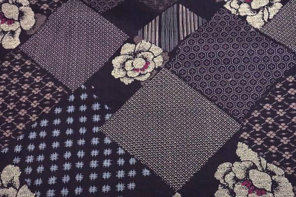 日本の伝統 抜染加工 サザンクロス 小紋つなぎ文様 えび茶地