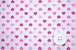 可愛いハートがいっぱい スケアー・プチハートプリント生地  ホワイト地×ピンク