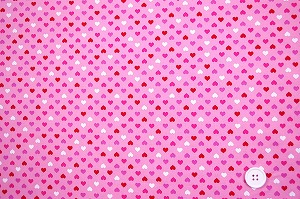 可愛いハートがいっぱい スケアー・プチハートプリント生地  ピンク地×レッド