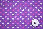 可愛いハートがいっぱい スケアー・プチハートプリント生地  パープル地×ピンク