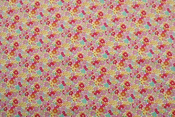 リバティ調の コットンブロード小花プリント生地 ピンク系 1126-49