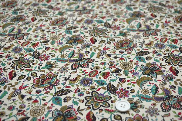 コットンツイル(あや織り) 花柄プリント ペイズリー ダークグリーン系 1127-58