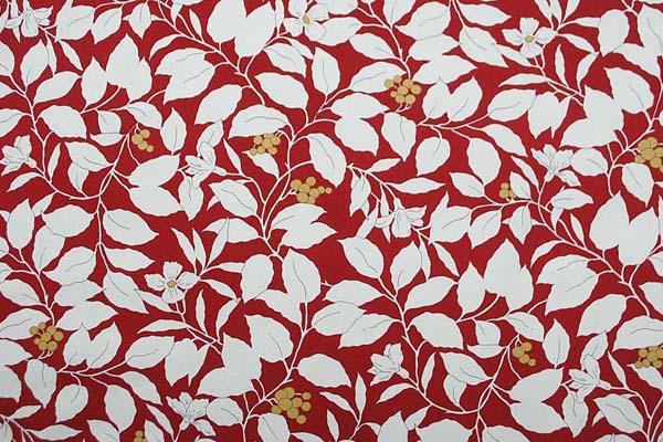 コットンツイル(あや織り) 花柄プリント 赤