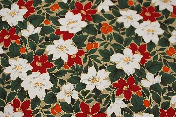 柔らかくてしっかりした素材 コットンツイル(あや織り)ラメ入り花柄プリント 赤 1127-67