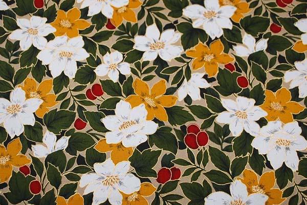 柔らかくてしっかりした素材 コットンツイル(あや織り)ラメ入り花柄プリント からし 1127-69