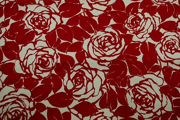 コットンツイルプリント 薔薇の柄1 ベージュ地に赤(臙脂) 1128-01