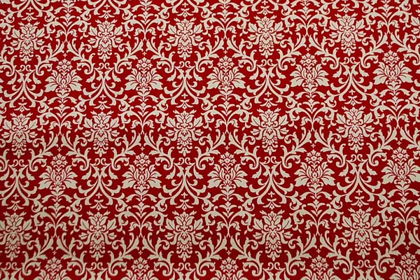 コットンツイルプリント ダマスク調 赤・臙脂系 1128-04