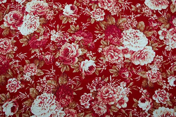 コットンツイルプリント 薔薇の柄2 赤・臙脂系 1128-07