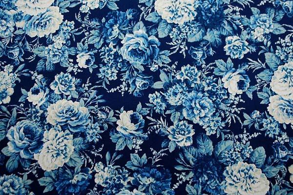 コットンツイルプリント 薔薇の柄2 青・紺系 1128-08