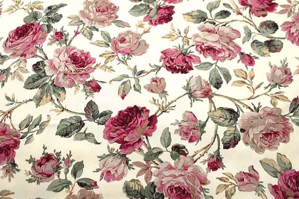 コットンツイルプリント 薔薇の柄3 薄いベージュ 1128-10