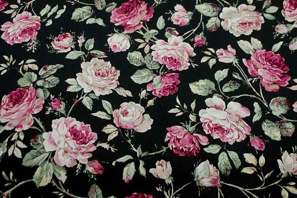 コットンツイルプリント 薔薇の柄3 黒 1128-12