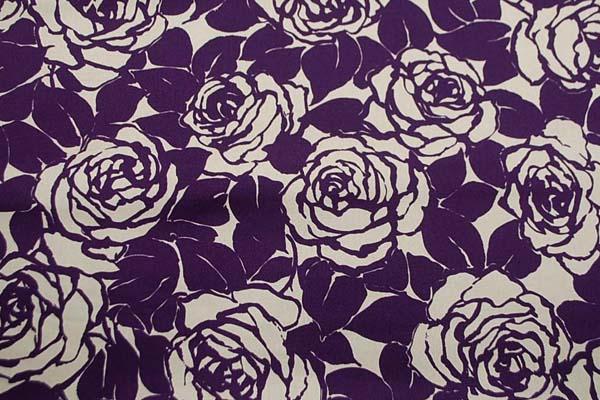 コットンツイルプリント 薔薇の柄1 ベージュ地に紫 1128-14