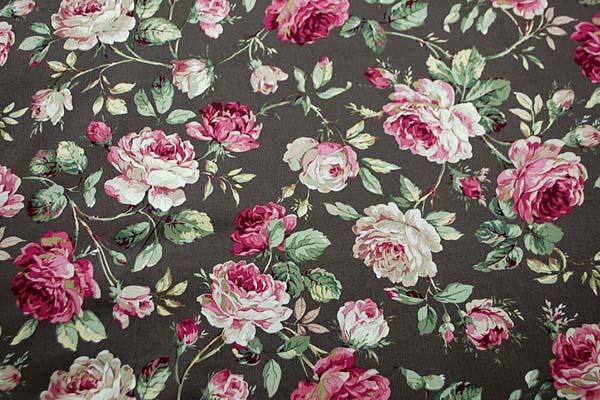 コットンツイルプリント 薔薇の柄3 こげ茶 1128-19