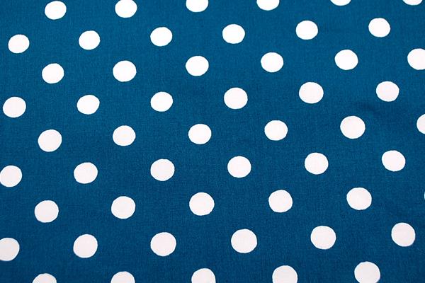 11号帆布 2cmの水玉プリント ターコイズブルー