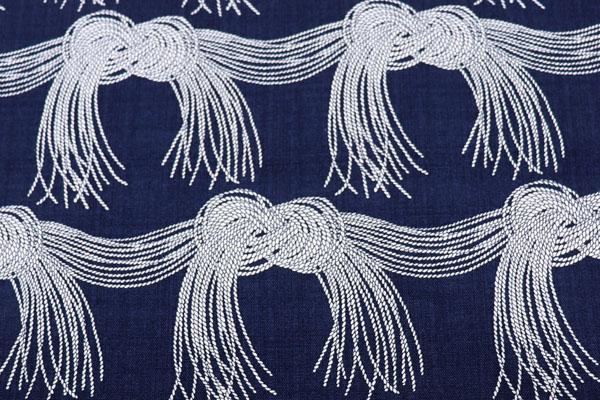 バッグなどの手芸に最適な 8号帆布 結(水引き)柄 紺