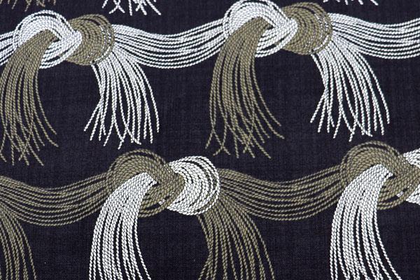 バッグなどの手芸に最適な 8号帆布 結(水引き)柄 黒