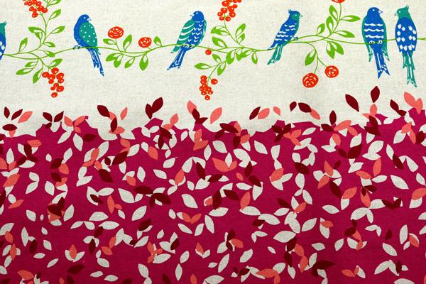 ハーフリネンキャンバス エチノ Bird Song(ボーダー柄) ピンク系