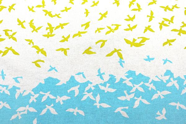 ハーフリネンキャンバス エチノ Bird Song(ボーダー柄) ブルー系