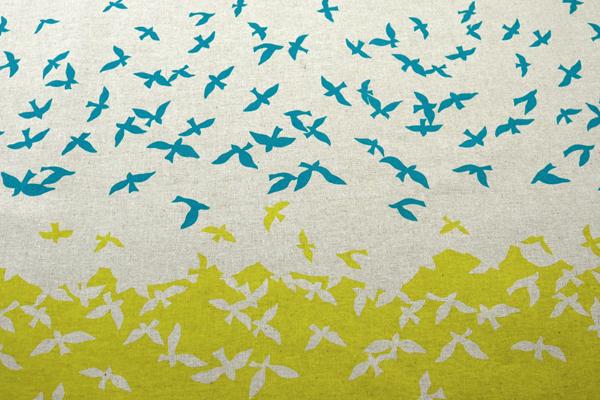 ハーフリネンキャンバス エチノ Bird Song(ボーダー柄) グリーン系