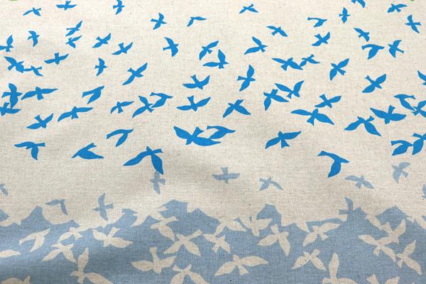 ハーフリネンキャンバス エチノ Bird Song(ボーダー柄) ネイビー系