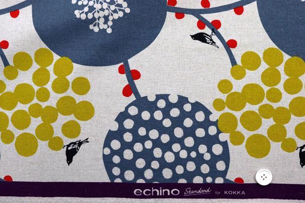 ハーフリネンキャンバス エチノ Bigberry(水玉とベリー) グレー系