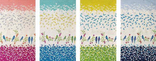 ハーフリネンキャンバス エチノ Bird Song(ボーダー柄) 全体像
