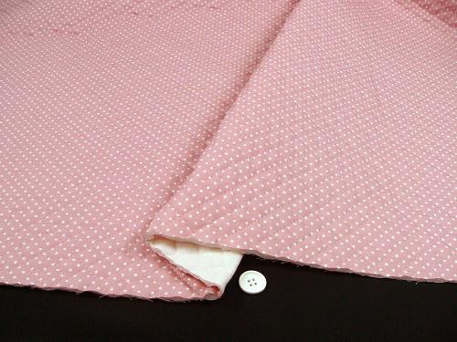 水玉模様(水玉柄・ドット柄)のキルティング生地(綿100%)かわいいピンク色(1171-41)