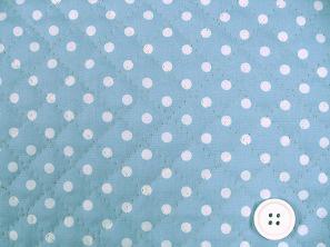 水玉模様(水玉柄・ドット柄)のキルティング生地(綿100%)水色・ライトブルー(1171-47)