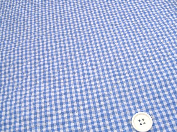 ギンガムチェックのキルティング生地(キルト生地)3mm 水色・サックスブルー(1171-61)