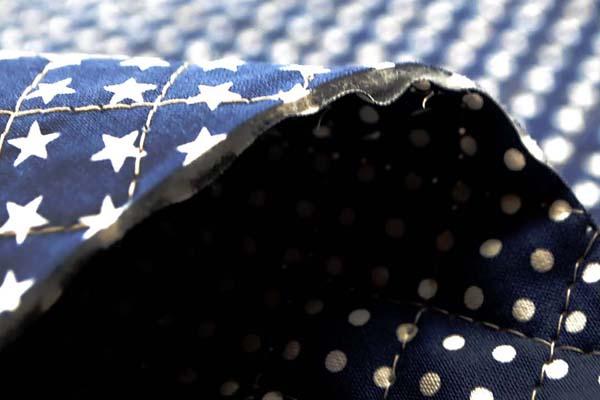 リバーシブルキルティング 水玉と星のスケアープリント 紺