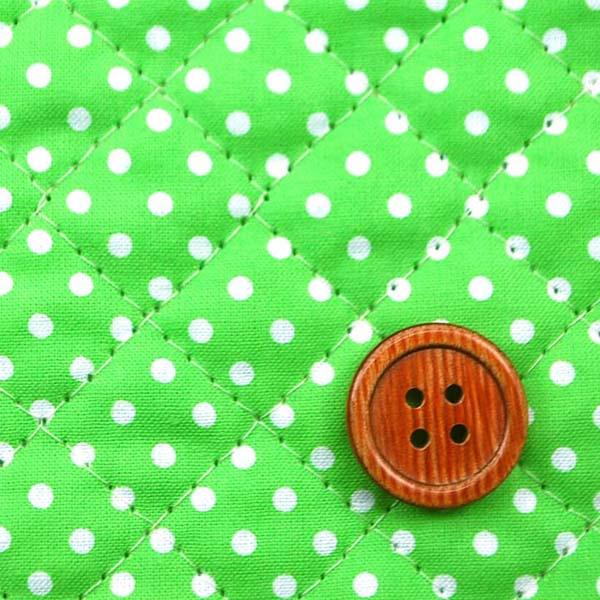 リバーシブルキルティング 水玉と星のスケアープリント シーグリーン