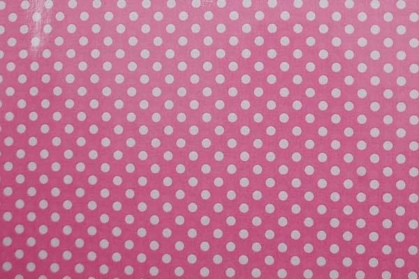 水玉のラミネート(塩化ビニールコーティングは表面のみです) 約7mm ピンク