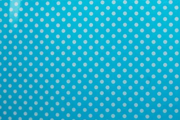 水玉のラミネート(塩化ビニールコーティングは表面のみです) 約7mm 水色
