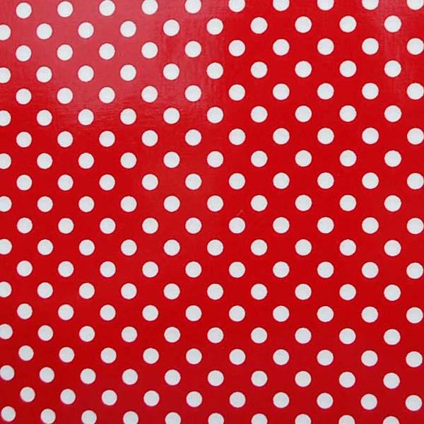 水玉のラミネート(塩化ビニールコーティングは表面のみです) 約7mm 赤