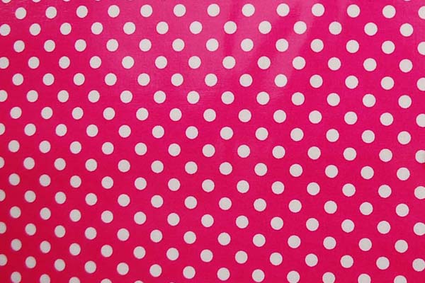 水玉のラミネート(塩化ビニールコーティングは表面のみです) 約7mm 濃いピンク
