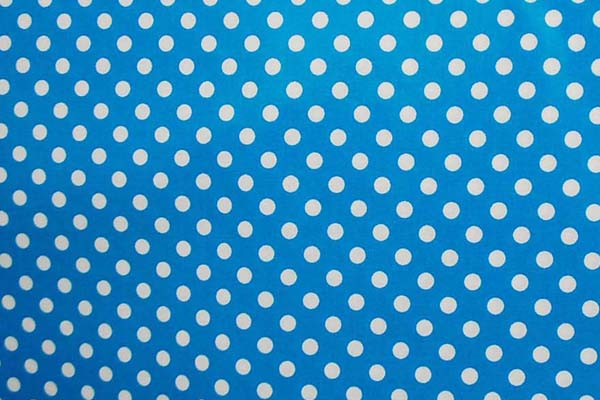 水玉のラミネート(塩化ビニールコーティングは表面のみです) 約7mm 青