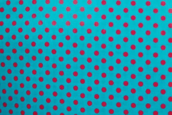 水玉のラミネート(塩化ビニールコーティングは表面のみです) 約7mm ターコイズ地に濃いピンク